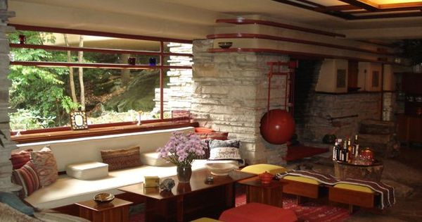 Fallingwater...the side of the living room looking towards the fireplace & dining