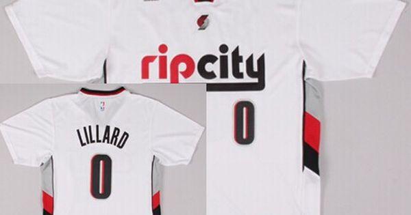 Portland Trail Blazers 0 Damian Lillard Rip City Revolution 30 Swingman 2014 New White Short Sleeved Jersey Portland Trailblazers Jersey Nba Jersey