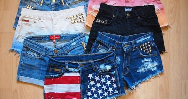 DIY custom shorts, I'm currently making the american flag ones!(: