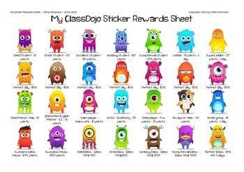 My ClassDojo Stickers Rewards Sheet   education Class Dojo