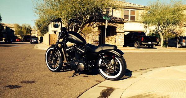 harley iron 883 with road6 customs ape hangers white wall