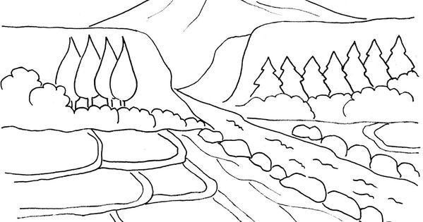 Mewarnai Gambar Pemandangan Gunung Dan Sawah Tempat