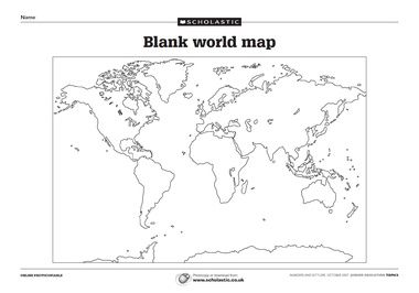 Blank World Map Free Download From Scholastic Blank World Map World Map Outline Geography Worksheets Free printable world map worksheets