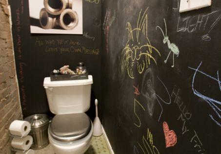 Repeindre les toilettes avec de la peinture ardoise pour for Repeindre les toilettes