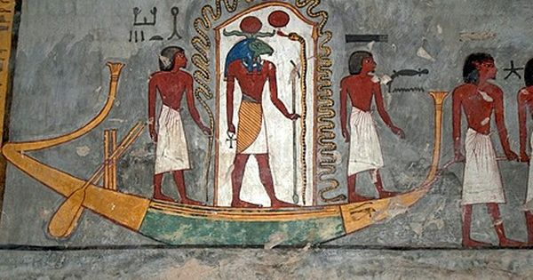 Mural painting solar barge tomb of ramses i tomb number for Egyptian mural art