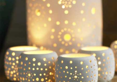 Ceramic Bazaar Tea Light Holders, Christmas Decorations | Graham and Green Home