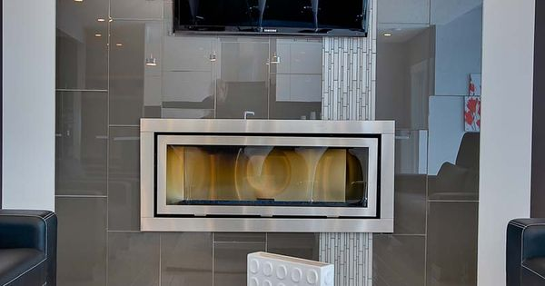 Linear Fireplace With Vertical Accent Tile Modern Style