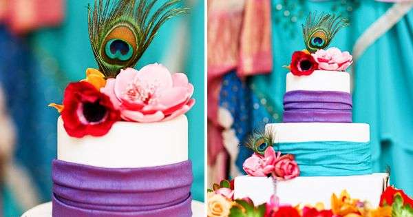 the vibrantly colored stacked cake and textural elements of the fabrics and