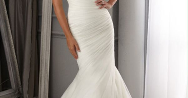 2014 Off The Shoulder Mermaid/Trumpet Wedding Dress Pleated Bodice With Court Train