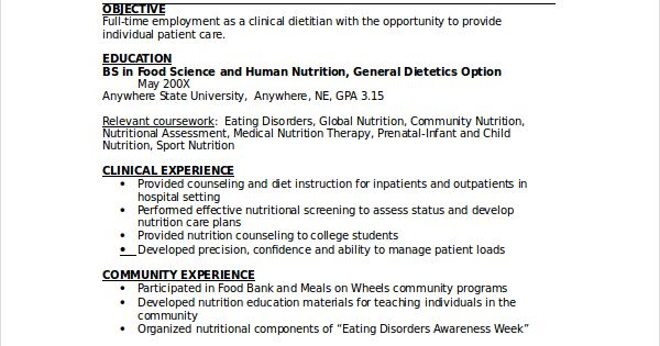 dietitian resume template free word pdf documents download for - nutritionist resume sample