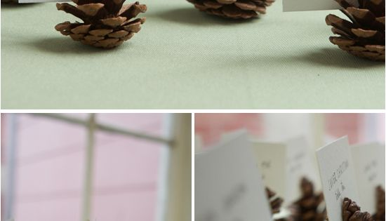Perfectly simple name card DIY with pinecones that could work for absolutely