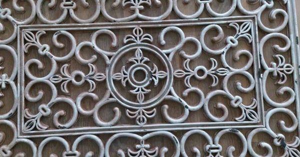 Rubberen deurmat met hobbyverf kwast en spons bewerkt for Decoratie voor de raam