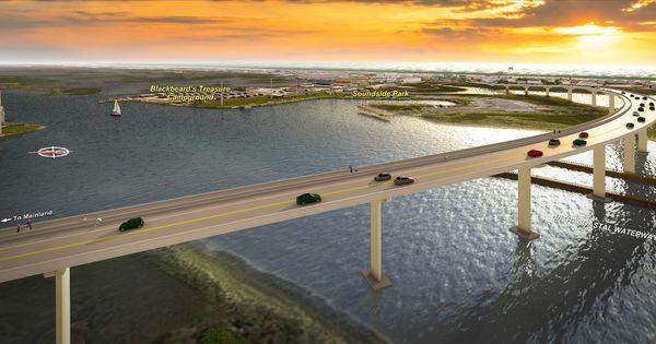 Overlook of new bridge ncdot swingbridge replacement in for Surf city pier fishing report facebook