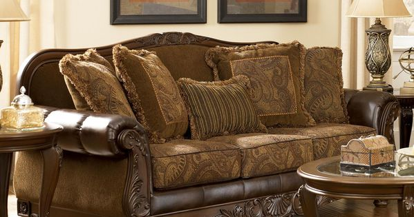 Fresco Durablend Antique Traditional Stationary Sofa With Rolled Arms By Signature Design By