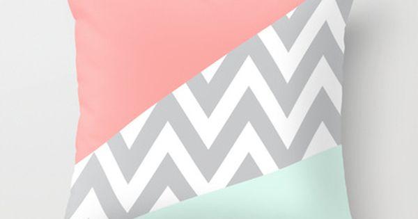 mint & coral chevron pillow