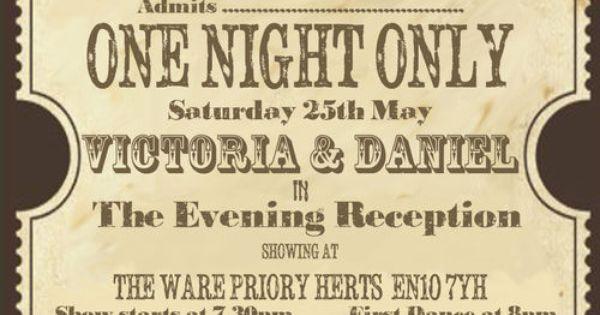 Personalised vintage theatre ticket wedding invitations ...
