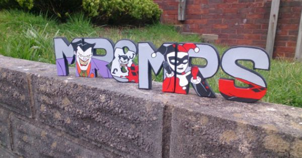 Hand Painted Mr & Mrs letters with Joker and by DimensionalArtUK