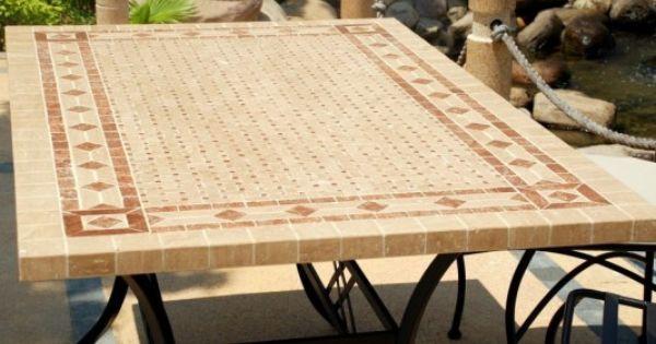 Toscane table mosa que de jardin en fer forg marbre for Table exterieur fer forge mosaique