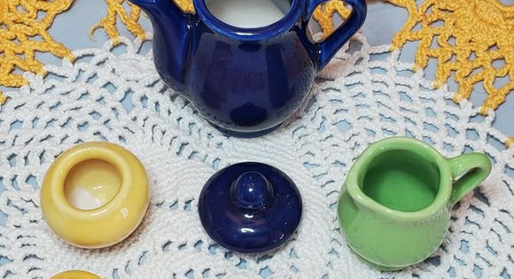 Mini Ceramic Solid Color Child S Tea Set 13 Pcs In 2020 Kids Tea Set Tea Set Solid Color