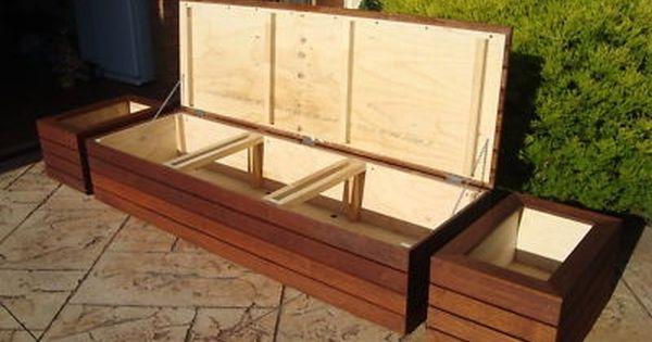 Merbau Outdoor Storage Bench Seat Planter Boxes Screens Patio Cushion Storage Outdoor Storage Bench Patio Storage Bench