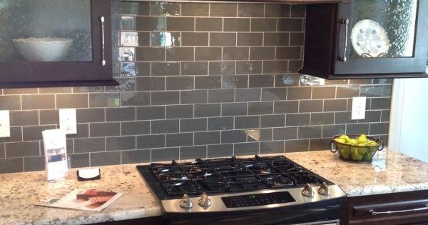 39 ice 39 gray glass subway tile backsplash with dark brown