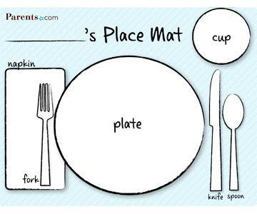 Printable Table Setting Place Mats Manners For Kids Table