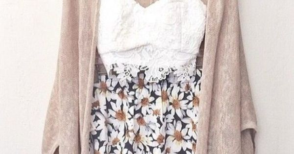 Stylish Spring Outfit Women Fashion. Lace crop top, floral shorts and cardigan.