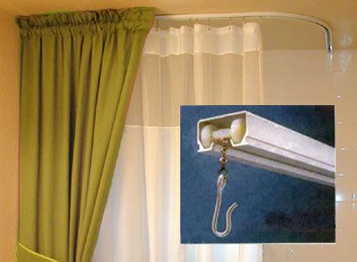 Ceiling Mount Shower Curtains Can Be Stabilized For Safety This One Has Included Curtain Hooks And Rod 114 Shower Curtain Rods Shower Curtain Track Curtains