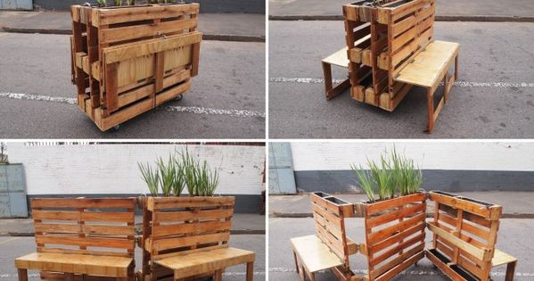 Brothers in benches mobiliario urbano reciclado con palets - Mobiliario con palets ...