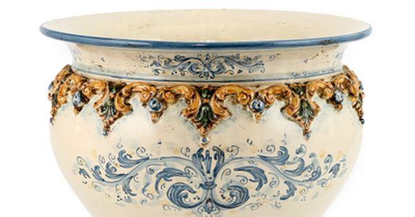 Sofia Tricolore Round Cachepot Planter With Bass Relief Decoration Medium 14 Diam Centerpiece Bowl Decorative Bowls Italian Ceramics
