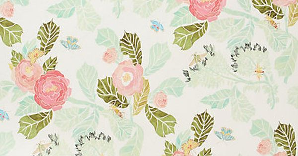 Watercolor Peony Wallpaper anthropologie Pretty. Would be nice for a little girl's