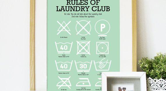 Wäscheservice Zimmer Poster mit Wäscheservice Piktogramme