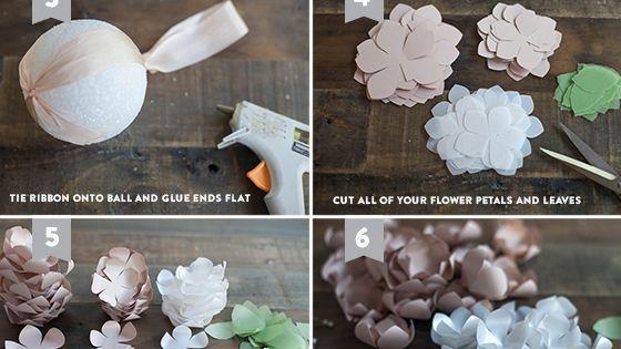 DIY Paper Flower Kissing Ball