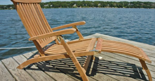 Teak Steamer Chair For Jack S Deck Pair Plus Side Table And Cushions Teak Patio Furniture