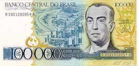 Historia Do Dinheiro No Brasil Cruzeiro 1970 Cedula 100 Mil
