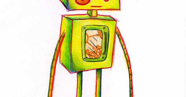 Robot Drawing Colored Pencil Original 8 X 10 Inches Colored Pencils Robots Drawing Amazon Handmade