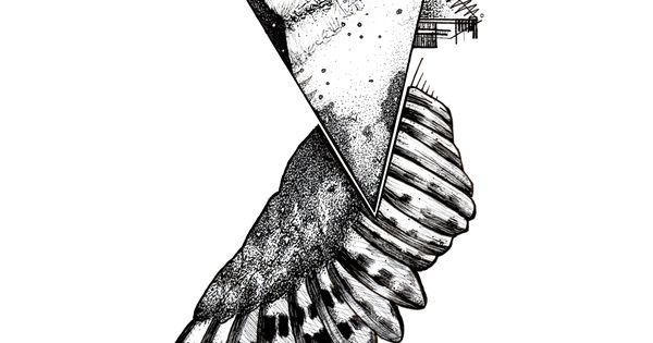 geometric owl blackwork tattoo pen and ink on bristol. Black Bedroom Furniture Sets. Home Design Ideas