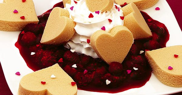 Raspberry Pound Cake Valentines. Could easily be made with any premade cake,