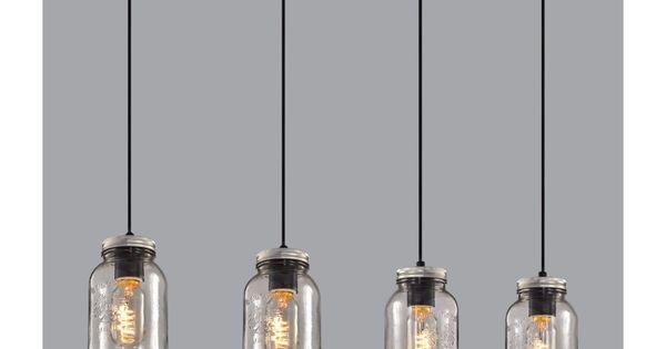 luminaire suspendu sur base en bois avec pots mason en verre clair autre pinterest verre. Black Bedroom Furniture Sets. Home Design Ideas