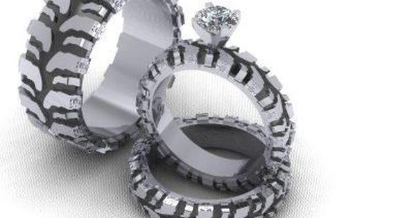 Mud truck tire wedding ring set...cute idea
