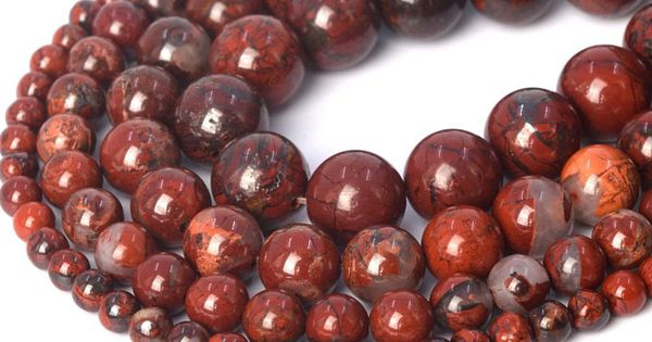 Matte Red Jasper White Lace Beads Natural Gemstone Round Loose 4mm 6mm 8mm 10mm 12mm 15 5 Strand In 2020 Red Jasper Matte Red Natural Gemstones