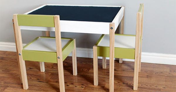 Table And Chair Re Do Chalk Board Paint On The Table Top Ikea Childrens Table Diy Kids Furniture