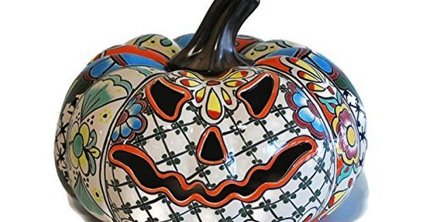 Mexican Ceramic Pumpkin Candle Holder Decorative Pottery Tabletop Lantern Candle Holder Talavera Decorative Pottery Pumpkin Candle Holder Talavera Pottery