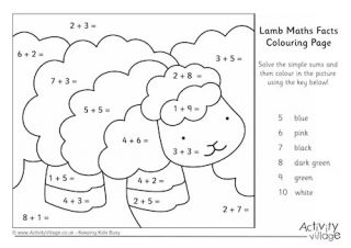Lamb Maths Facts Colouring Page Math Facts Coloring Pages Math