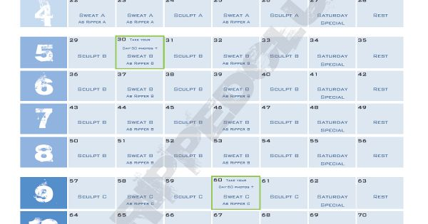 for your use the new p90 workout schedule save in pdf format and print off the p90 calendar