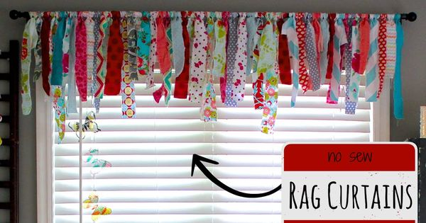 No Sew Rag Curtains Craft Room Ideas Pinterest Sew