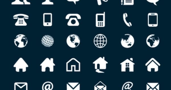set of several contact icons with different shapes 6