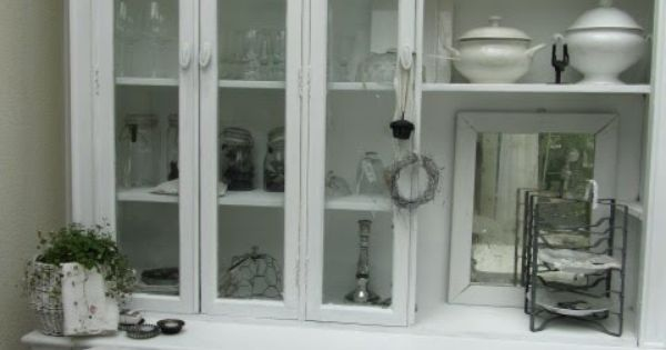 china cabinet hutch dining room white grey black chippy shabby
