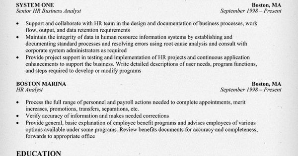 experienced hr analyst resume
