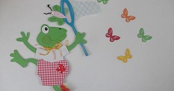 Fensterbild Tonkarton Frosch Ferdi Auf Schmetterlingsjagd Xl Deko Kinder Fensterbilder Tonkarton Frosch